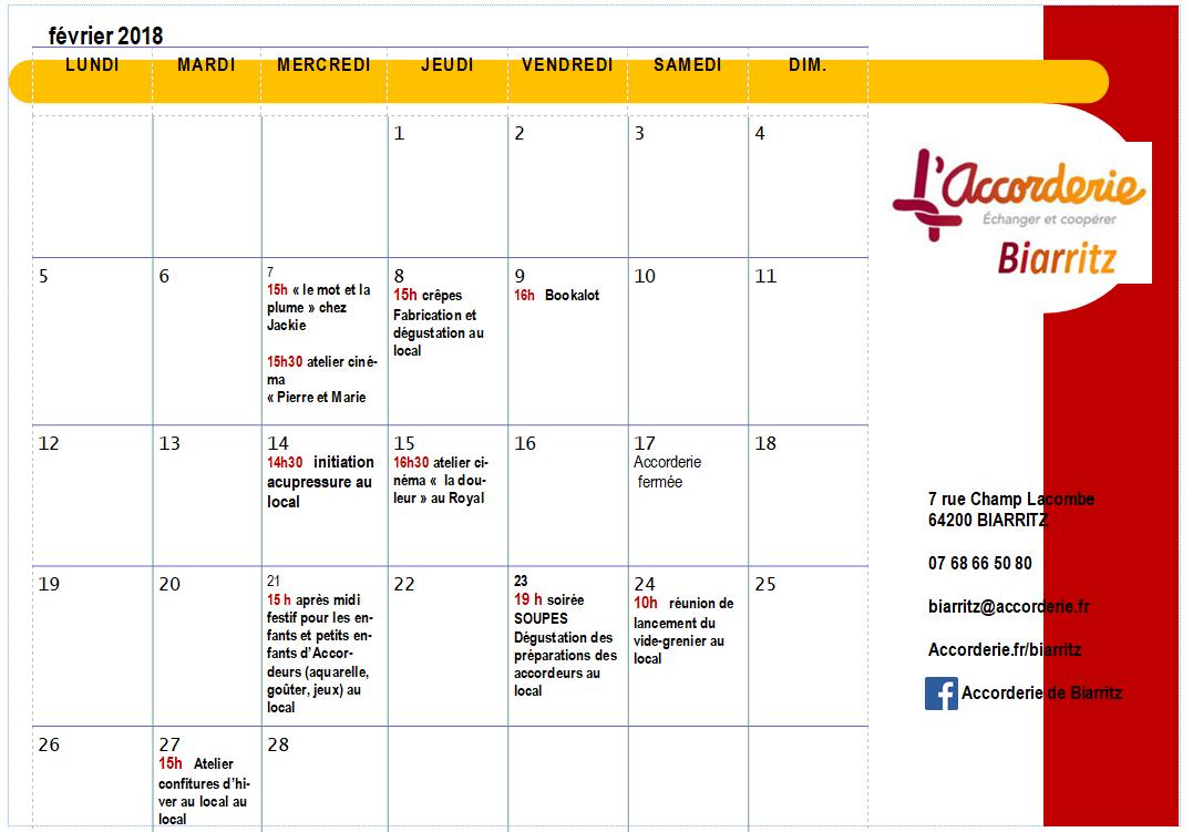 calendrier fevrier 18
